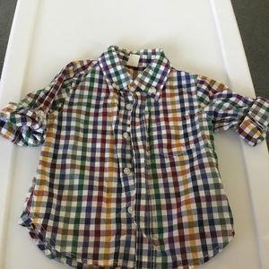 Gap Boy Multi Plaid Button Down Shirt. Size 18-24m
